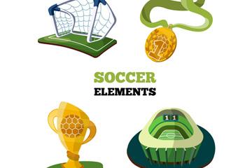 4款彩色立体足球元素矢量素材