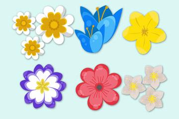 6款彩色质感春季花卉矢量素材