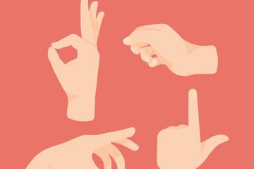 4款创意手势设计矢量素材