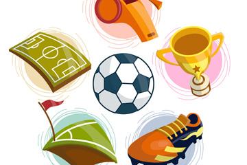 6款彩色足球元素设计矢量素材