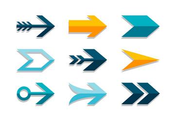 12款彩色纸质箭头设计矢量图