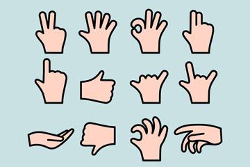 16款创意手势设计矢量素材