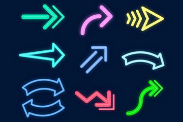 9款创意荧光色箭头设计矢量图