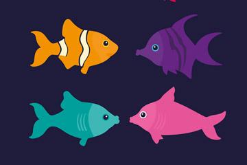 9款彩色鱼类设计矢量素材
