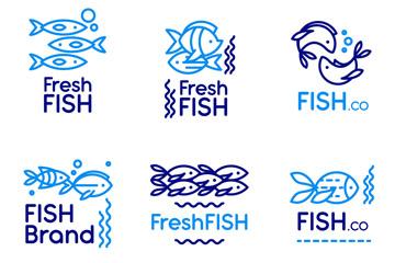 6款蓝色鱼标志矢量素材