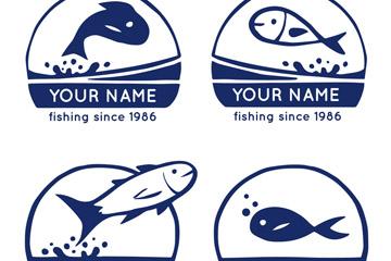 4款深蓝色鱼类标志矢量素材