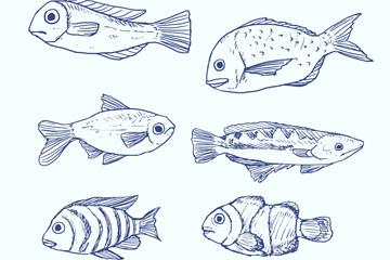 6款蓝色手绘海洋鱼类矢量素材