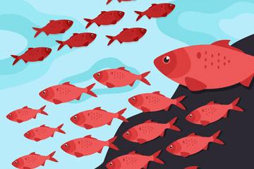 创意海底红色鱼群矢量素材
