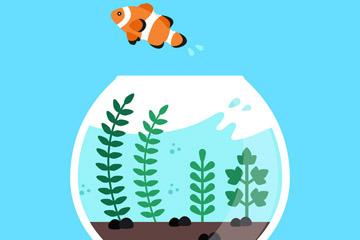 创意跳出鱼缸的小丑鱼矢量素材