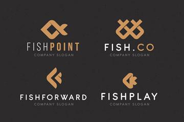 6款抽象鱼标志设计矢量素材