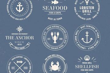 9款创意海洋元素标志矢量素材