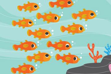 可爱海底橙色鱼群矢量素材