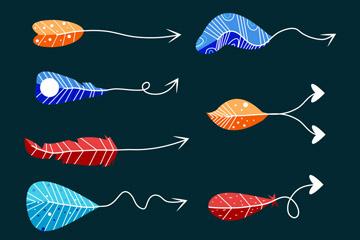 8款手绘彩色羽毛箭头矢量素材