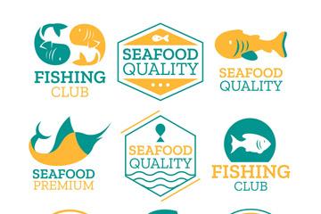 9款彩色鱼元素标志矢量素材