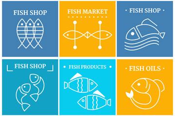 6款白色抽象鱼标志矢量素材