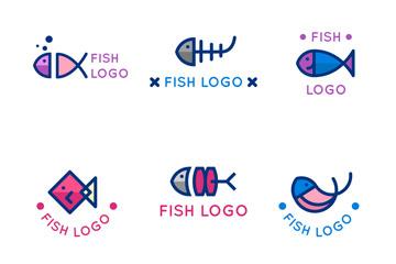 6款可爱鱼标志设计矢量图