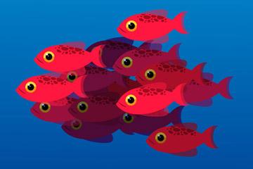 红色鱼群设计矢量素材