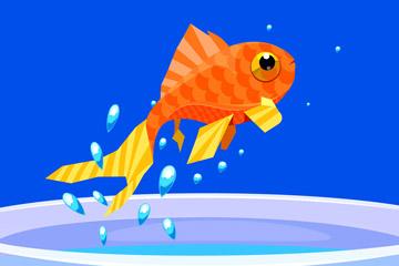 创意跳出鱼缸的金鱼矢量素材