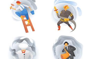 4款创意职业人物设计矢量素材