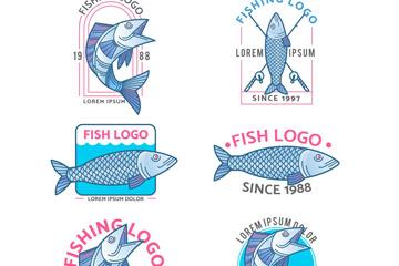 6款手绘鱼类标志矢量素材