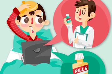 创意查询网络药方的感冒男子矢量