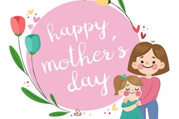 卡通母�H�母女和花卉矢量素材