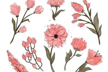 8款手绘粉色花卉矢量素材