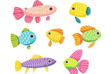 7款彩色花纹鱼类设计矢量素材