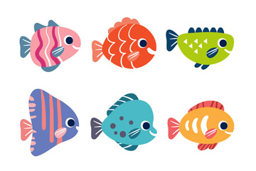 6款可爱笑脸鱼类矢量素材