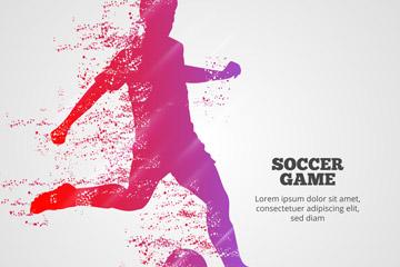 彩绘足球赛人物剪影矢量素材