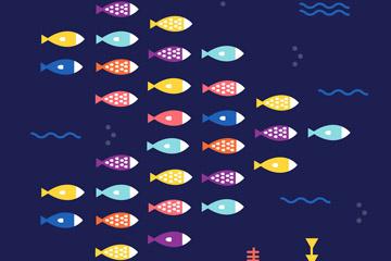 抽象彩色海底鱼群矢量素材