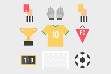 9款扁平化足球物品矢量素材