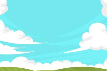 创意郊外草地和晴朗天空风景矢量图