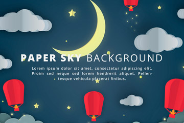 创意夜晚天空孔明灯矢量素材