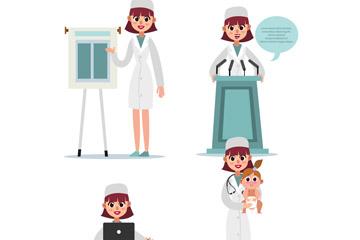 4款卡通笑脸女医生设计矢量图