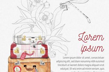 彩�L行李箱和蜻蜓矢量素材
