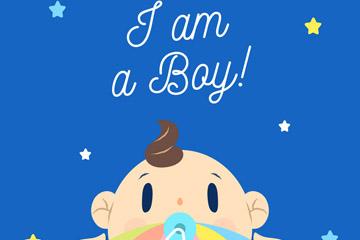 可爱男婴头像设计矢量素材