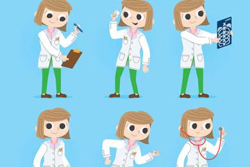 6款创意短发女医生矢量素材