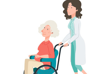创意推患者轮椅的女医生矢量图