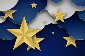 创意夜晚云朵和星星剪贴画矢量素材