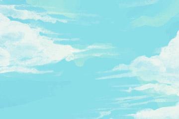 彩绘蓝天白云风景矢量素材