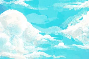 彩绘蓝天上的云层风景矢量素材