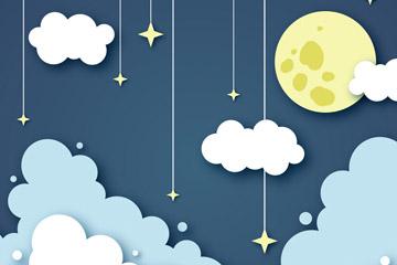 创意纸质夜空中的月亮和云朵矢量图