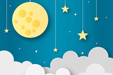 创意夜空云上的月亮矢量素材