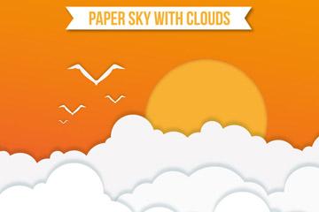 美丽云海上的太阳剪贴画矢量素材