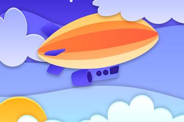 彩色高空中的飞艇剪贴画矢量图