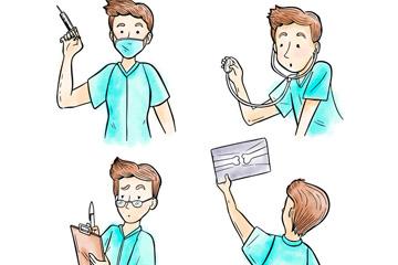 4款彩绘男医生半身像矢量图