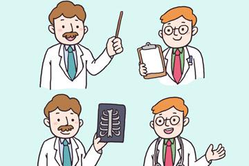 4款手绘男医生半身像矢量素材