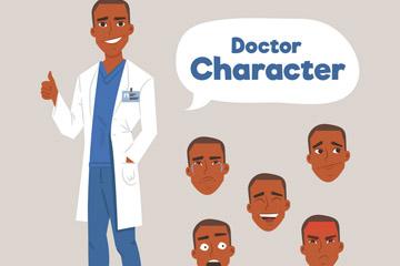 创意医生和5个表情头像矢量图