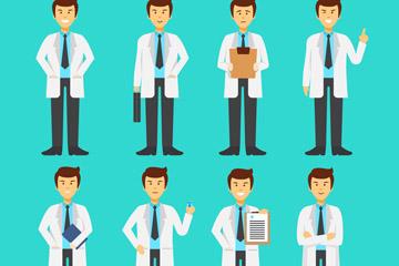 8款创意男医生动作矢量素材